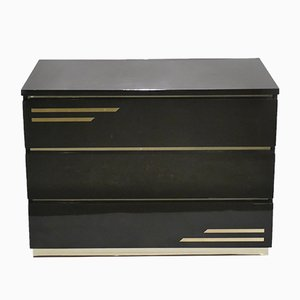 Brown-Lacquered Dresser with Brass Inserts by Jean Claude Mahey for Maison Roméo, 1970s