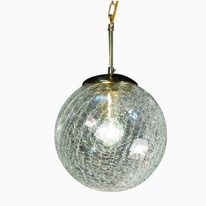 Lámpara colgante vintage con globos de vidrio agrietado soplado a mano