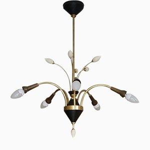 Lámpara de araña en negro y dorado, años 50