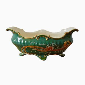 Portapiante Art Nouveau in ceramica, Francia, inizio XX secolo