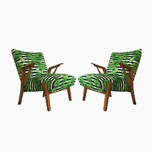 Vintage Tropical Leaves Lounge Chairs, 1950s, Set of 2