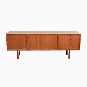 Vintage Danish Teak & Brass Sideboard with Tambour Doors by Ejnar Larsen & Aksel Bender for Næstved Møbelfabrik