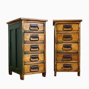 Industrial Drawer Cabinets, 1930s, Set of 2