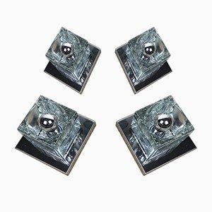Würfelförmige verchromte Wandlampen aus Glas von Peill & Putzler, 1970er, 4er Set