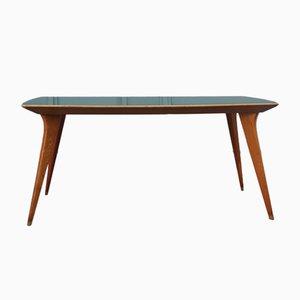 Esstisch aus Eschenholz & grünem Vetrolit, 1950er