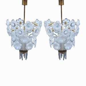 Murano Glass Flower Ceiling Lights by Franco Luce, 1970s, Set of 2