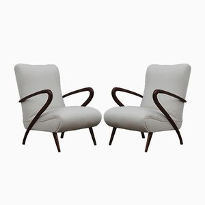 Mid-Century White Lounge Chairs, 1950s, Set of 2