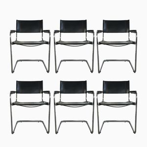 Mid-Century Modern Leather & Chrome Cantilever Chairs by Eero Aarnio for Mobel Italia, Set of 6