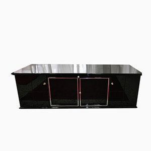 Black Sideboard with Glass Shelves, 1920s