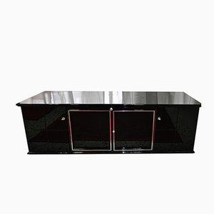Schwarzes Sideboard mit Glasregalen, 1920er
