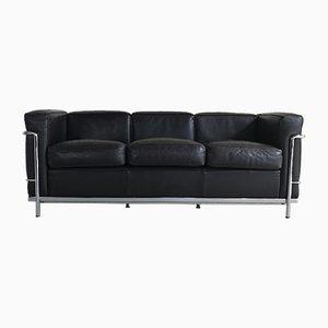 Dunkelbraunes LC2 Leder 3-Sitzer Sofa von Le Corbusier; Pierre Jeanneret & Charlotte Perriand für Cassina, 1998