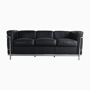 LC2 Dark Brown Leather 3-Seater Sofa by Le Corbusier, Pierre Jeanneret, & Charlotte Perriand for Cassina, 1998