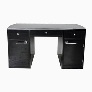 Black High-Gloss Desk, 1940s
