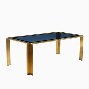 Italian Brass-Plated & Blue Glass Table, 1970s