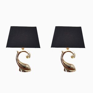 Hollywood Regency Brass Table Lamps, 1970s, Set of 2