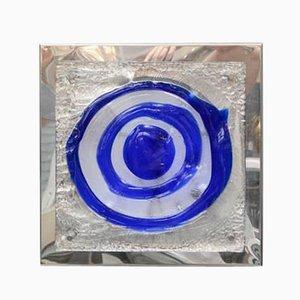Aplique cuadrado azul, años 70
