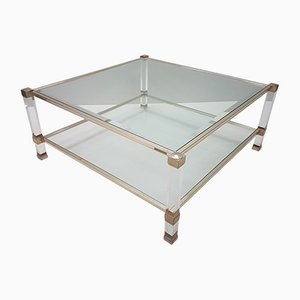 Lucite & Gilt Metal Square Coffee Table by Pierre Vandel, 1970s