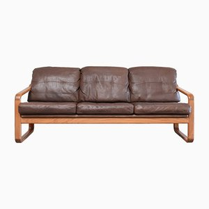 Vintage Brown Leather & Teak Sofa from Möbelfabrik Holstebro