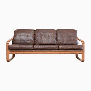 Vintage Brown Leather & Teak Sofa from Möbelfabrik Holstebro