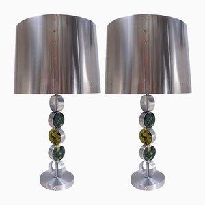 Lámparas de mesa grandes de aluminio, acero y vidrio de Raak, 1972. Juego de 2