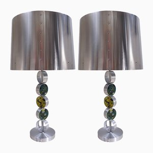 Large Aluminum, Steel & Glass Table Lamps from Raak, 1972, Set of 2