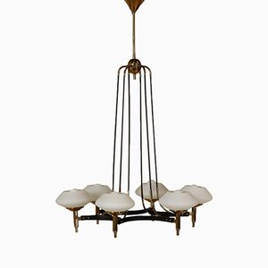 Chandelier in Metal, Brass, & Opaline Glass, 1960s