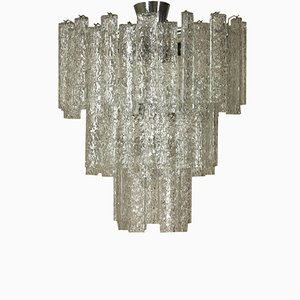 Chandelier with Glass Pendants & Metal Structure, 1960s