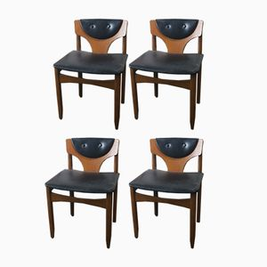 Mid-Century German Low Back Black Vinyl Dining Chairs, 1970s, Set of 4