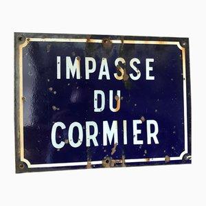 Vintage Enamel Impasse Du Cormier Street Sign