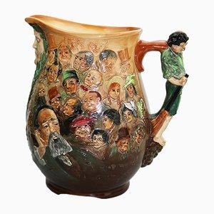Brocca Dickens Dream in ceramica di Charles Noke per Royal Doulton, anni '30
