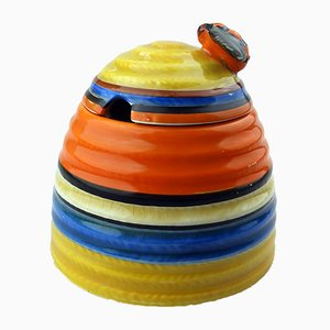 British Art Deco Pottery Liberty Band Beehive Honey Pot by Clarice Cliff for Newport Pottery, 1920s