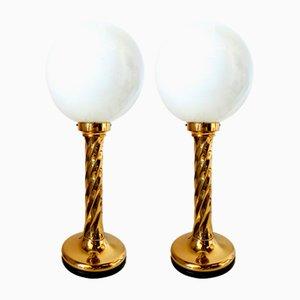 Grandes Lampes de Bureau Vintage en Laiton et Verre Opalin, Allemagne, Set de 2