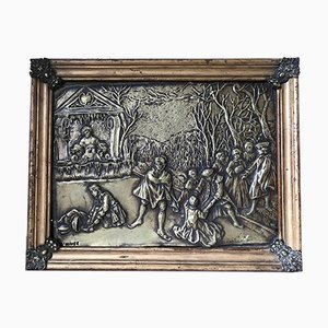 Antique Brass Embossed Wall Decoration in Frame from Hiver