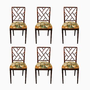 Hollywood Regency Faux Bamboo Chairs, Set of 6