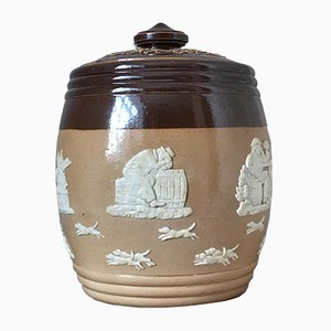Victorian Lidded Tobacco Jar with Hunting Scenes from Royal Doulton