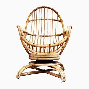 Mid-Century Wicker Swivel Chair