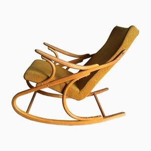 Sedia a dondolo in legno piegato di TON, anni '70