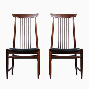 Mid-Century Teak Sessel mit Schwarzem Kunstleder, 1960er, 2er Set
