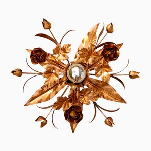 Vintage Italian Tole Floral Light with Gold Finish