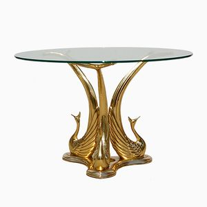 Vintage Polished Brass Peacock Coffee Table