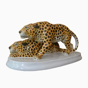 Porcelain Leopards by Etha Richter for Schwarzberg, 1914