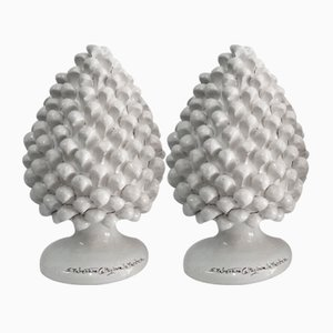 Vintage Caltagirone Pine Cones in Ceramic from Italo Casini, Set of 2