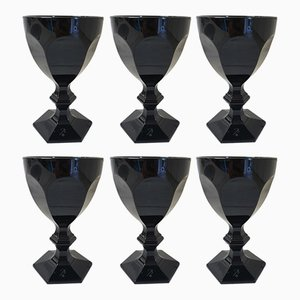 Harcourt Dark Side Imparfait Glasses by Philippe Starck for Baccarat, 2006, Set of 6