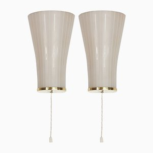 Mid-Century Brass & Opaline Sconces, Set of 2