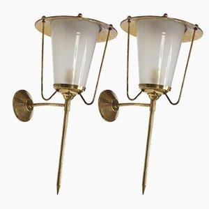 Applique in ottone e vetro opalino, anni '50, set di 2