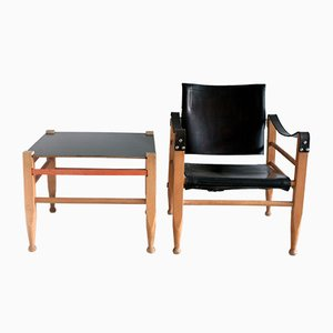Vintage Safari Lounge Chair & Table Set by Börge Mogensen