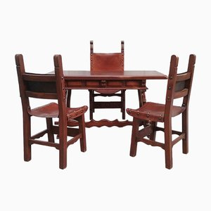 Antique Desk & 3 Chairs from Caltagirone