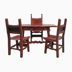 Escritorio antiguo con tres sillas de Caltagirone