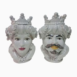 Vintage Caltagirone Head Vases, Set of 2