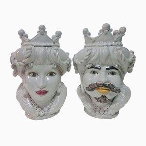 Vintage Caltagirone Vasen in Kopfform, 2er Set